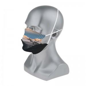 Masque barrière aux motifs paysages de montagne : lot de 5 masques